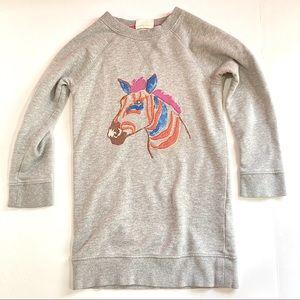 MINI BODEN Zebra Embroidered Long Sweatshirt 4-5Y